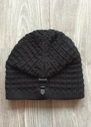 Шапка чёрная зимняя с подкладкой (подворотом) мужская/женская (унисекс)2 фото