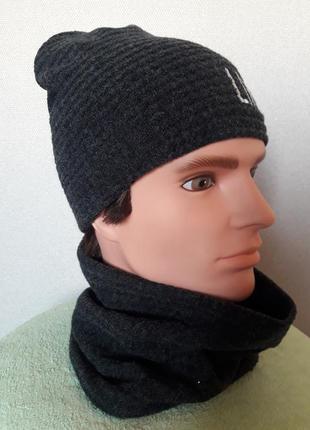 Трикотажный полушерстяной комплект для мальчика:шапка с баффом,на флисе,48-52
