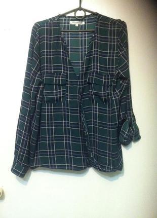Блуза на запах рубашка в клеточку* сорочка в клітинку