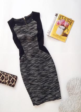 Тёплое плотное платье миди футляр серое чёрное от new look