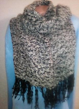Теплый шарф меланж букле.