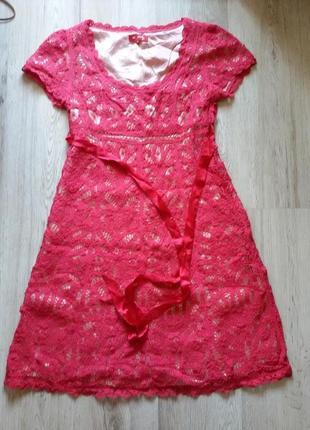 Кружевное платье алого цвета с чехлом пудрового цвета бренд derhy модель phebus (s9 5230)