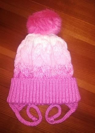 Новая вязаная шапка с градиентом и помпоном