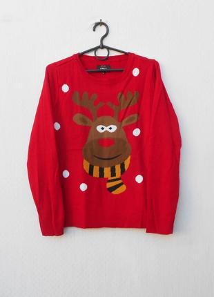 Зимний вязаный свитер пуловер с длинным рукавом с оленем