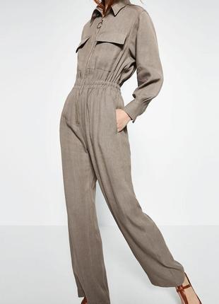 Супер стильный льняной комбинезон , ромпер , брюки zara