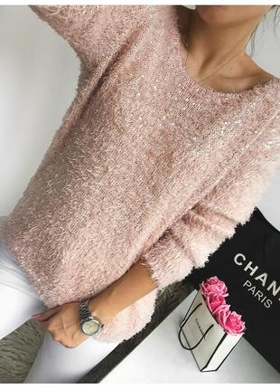 Нежный пушистый пудровый свитер в пайетках f&f