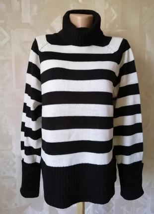 Базовый свитер в полоску с высоким воротам р. 36-40