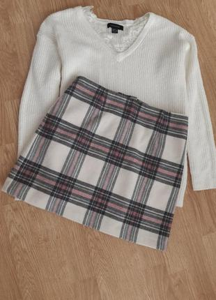 Трендовая юбка клетка, в составе шерсть