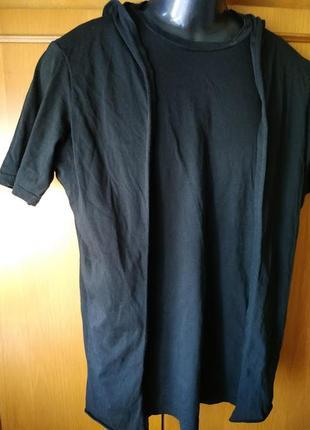 Черная мужская кофта-футболка с капюшоном м 100% хлопок
