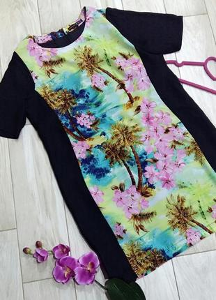 Прямое платье в тропический принт на 46-48 размер