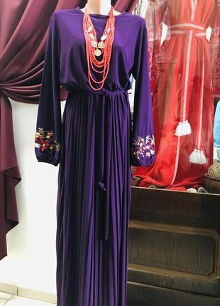 Длинное платье в пол плиссе вискоза с вышивкой
