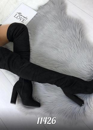 Демисезонные ботфорты на каблуке. высокие сапоги