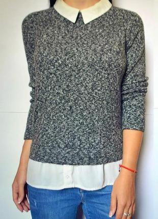 Стильный свитер с рубашкой обманкой atmosphere, размер 48-50