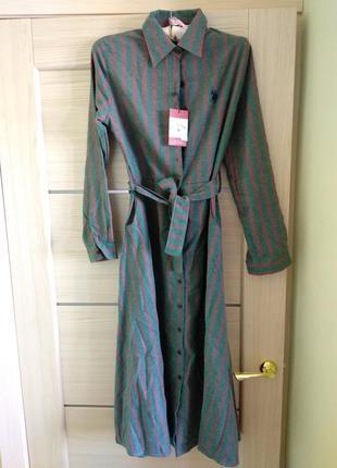 Платье в полоску хлопок миди! последние 2 размера