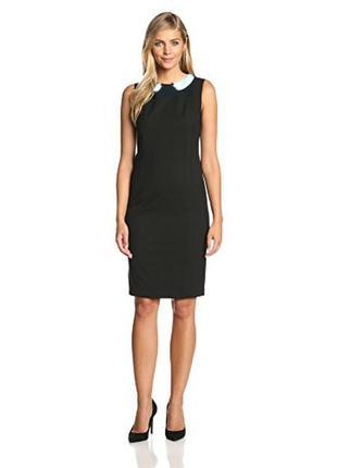 Черное платье с белым воротником футляр orsay