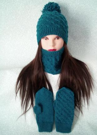 Набір+шапка+снуд+рукавички.