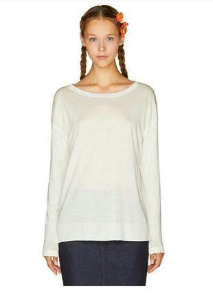 Тонкий котоновый свитер с пуговицами по спинке 100% котон,логслив,водолазка,оверсайз