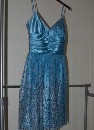 Нарядное платье фатин в блесточках