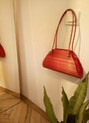 Азиатская сумка из темно-красного бамбука, соломенная east additions.