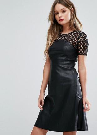Платье кожзам, кожаное черное, с кружевом new look