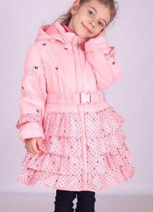 Демисезонное пальто donilo 104-128 удлиненная деми куртка для девочки данило донило donilo