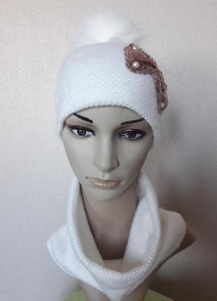 Распродажа!красивый,яркий,уютный ангоровый белый комплект на флисе,52-562