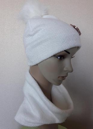 Распродажа!красивый,яркий,уютный ангоровый белый комплект на флисе,52-563