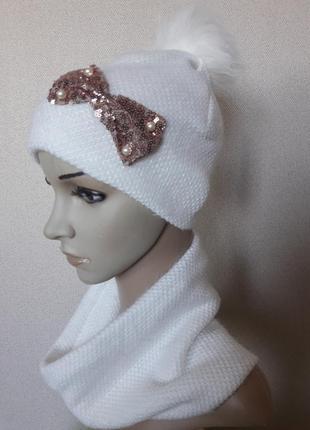 Распродажа!красивый,яркий,уютный ангоровый белый комплект на флисе,52-56
