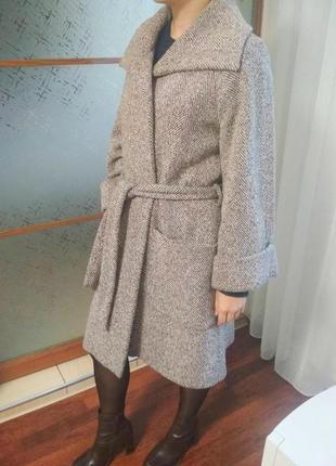 Твидовое пальто на запах серое отличное состояние