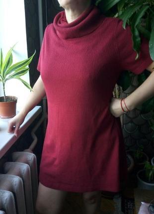 Бордовое платье гольф свободного кроя yessica