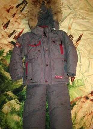 Зимний детский комплект курточка и комбинезон