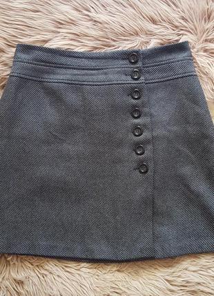 Юбка hobbs,шерстяная юбка,серая юбка,юбка 100% шерсть