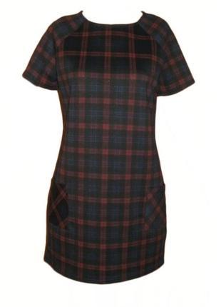 Платье приталенное в клетку с карманами на осень реглан new look размер 12 наш 46