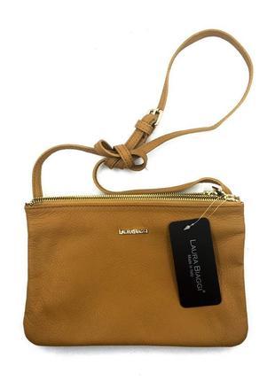 Женская кожаная коричневая сумка - crossbody laura biaggi