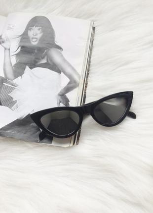 Очки, окуляри, имиджевые очки, стильные очки, кошачий глаз, черные, зеркальные очки