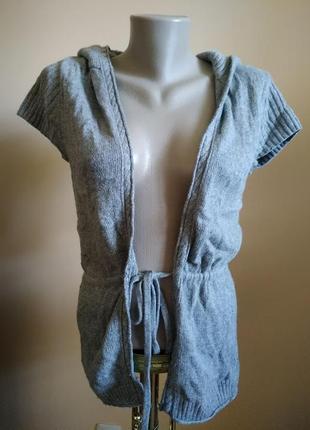 Теплая шерстяная кофта свитер кардиган с капюшоном m!