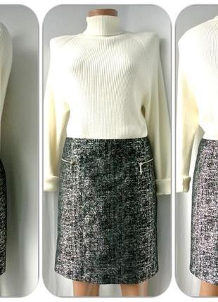 Трендовая, модная юбка george прямого кроя серебристо-черная .   размер uk 14/eur 42.