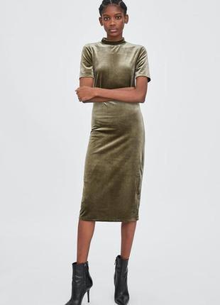 Платье миди вилюровое zara