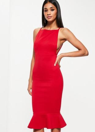 Платье миди ярко-красное