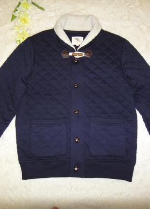 Шикарная теплая стеганая куртка бомбер cedar wood state р. 50 (l) темно синяя