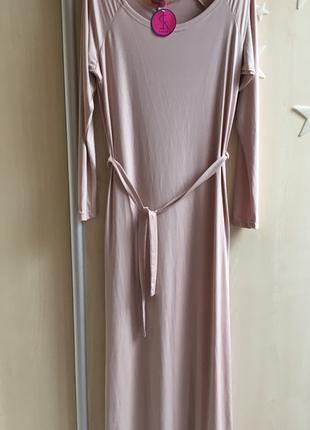 Платье пудровое в пол макси длинное