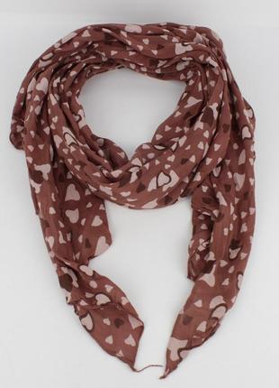 Итальянский шарф girandola 0001-26 коричневый, коттон 80%, шелк 20%
