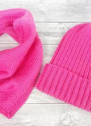 Вязаная шапка-тыква и снуд