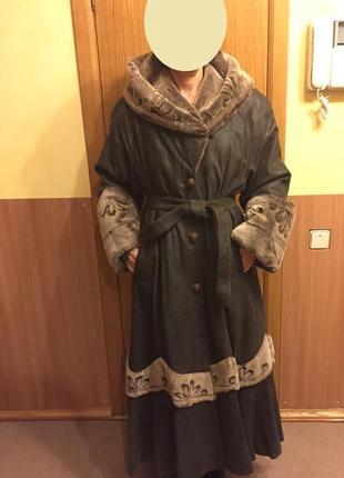 Зимняя дубленка / пальто, натуральная кожа - 100%