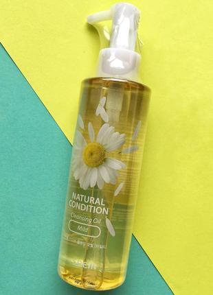 Успокаивающее гидрофильное масло the saem natural condition cleansing oil mild