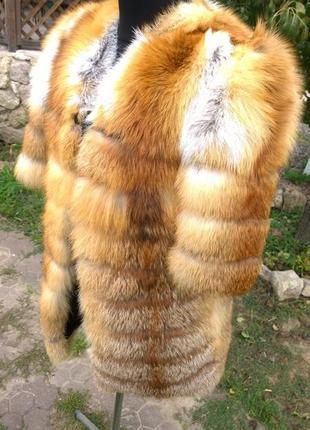 Шуба из натурального меха лисы огневки в наличии размер м-л