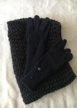 Вязаный снуд и перчатки длинные темно-синие