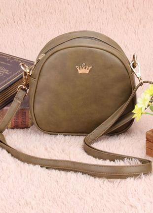 Вместительная сумочка через плечо, цвет хаки