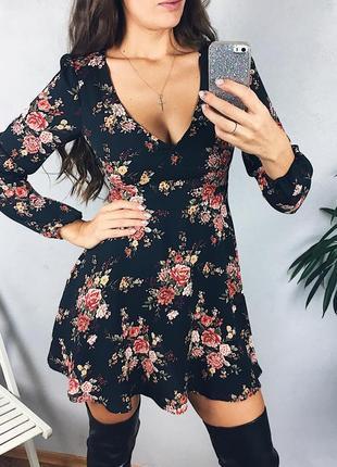 Прекрасное шифоновое платье в цветы 2 цвета