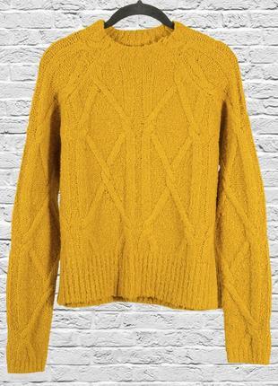 Горчичный свитер приталенный с узором